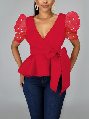 Sweet Red Ruffle Hem Shirt Solid Color Women Outfit