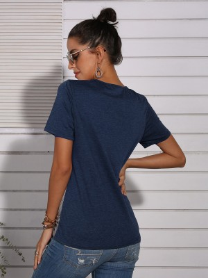 Enthralling Blue Hollow Twist Knot T-Shirt Colorblock Classic