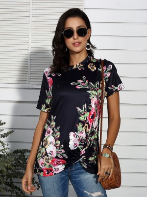 Sultry Black Flower Printed T-Shirt Round Collar Outfit