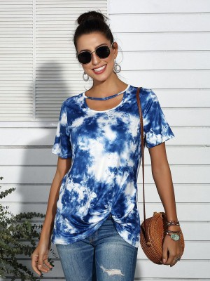 Simply Chic Deep Blue T-Shirt Tie Dye Print Short Sleeves
