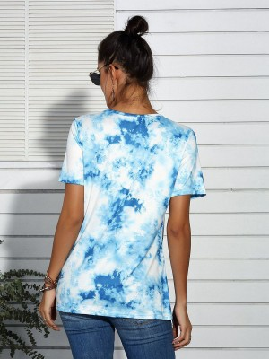 Luscious Curvy Light Blue Round Collar Twist Dye Print T-Shirt