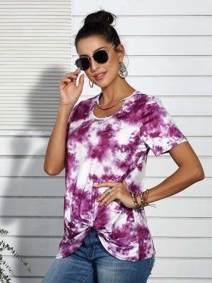Vogue Purple Dye Print Short Sleeves Shirt Twist Female Grace