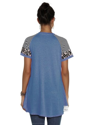 Noticeable Blue High-Low Hem T-Shirt Leopard Pattern Good Elasticity