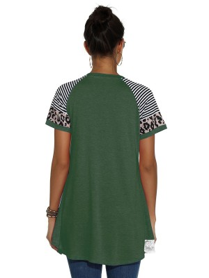 Mysterious Green Patchwork Short Sleeve Crew Neck Shirt Women Fashion