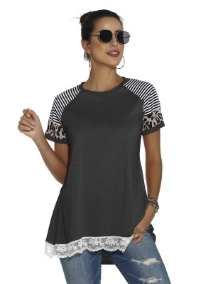 Woman Dark Gray Curved Hem T-Shirt Patchwork Lace Natural Outfit