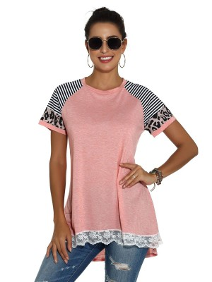 Vivid Pink Lace Trim T-Shirt Raglan Sleeve For Every Occasion