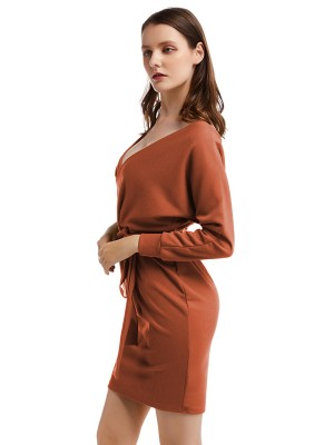 Distinctive Brown Waist Belt Kint Sweater Dress Full Sleeves Online Wholesale