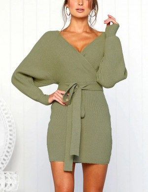 Exclusive Green Knit Full Sleeve Waist Belt Hip Dress Outfit