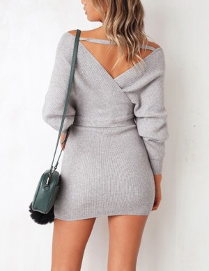 Seaside Gray V-Collar Knit Sweater Backless Dress Relax Fit