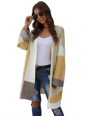 Creative Khaki Patchwork Open Front Knit Cardigan Comfort Women