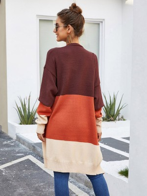 Shop Orange Midi Length Full Sleeve Cardigan Comfort Fashion