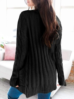Conservative Black Rounded Hem Long Sleeve Knit Sweater Slim