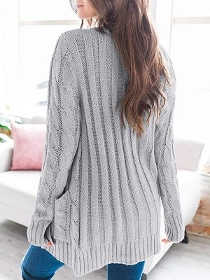 Simplicity Gray Full Sleeve Button Cardigan Pockets Loose Fit