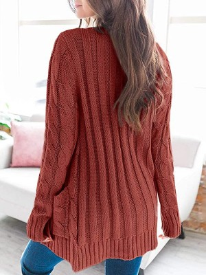 Flattering Red Side Pockets Cardigan Open Front Casual Women