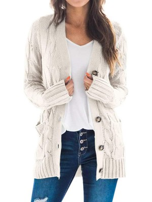 Off-White Full Sleeve Cardigan Side Pockets Button Fashion For Women