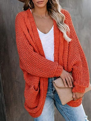 Stunning Orange Cardigan Full Sleeve Side Pockets Ladies Elegance