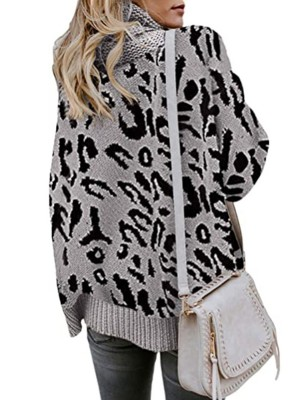 Wonderful Gray Leopard Print Long Sleeve Sweater Feminine Elegance