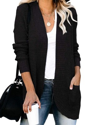 Sunshine Black Curved Hem Long Sleeve Cardigan Lady Fashion