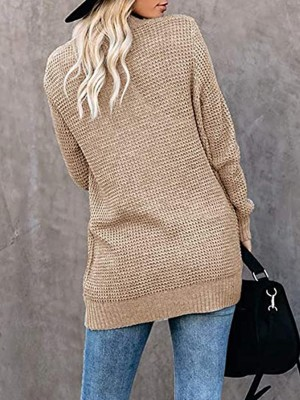 Voguish Khaki Cardigan Open Front Pockets Knit Leisure