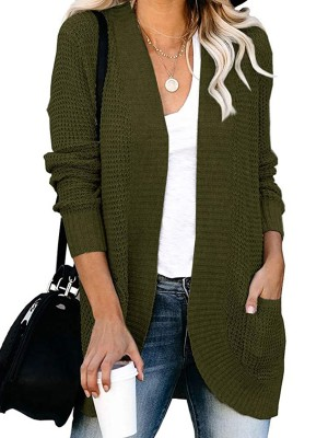 Distinct Army Green Solid Color Knit Coat Full Sleeve Breath
