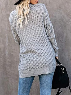 Brilliant Light Gray Widened Hem Hip Length Knit Cardigan Fashion