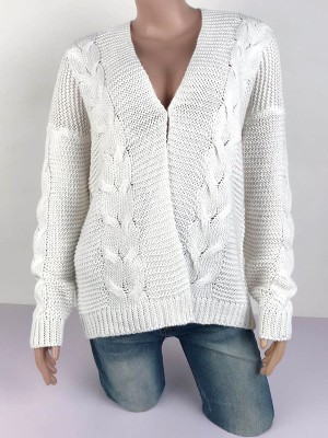 Effective White Solid Color High Stretch Cardigan Classic Fashion