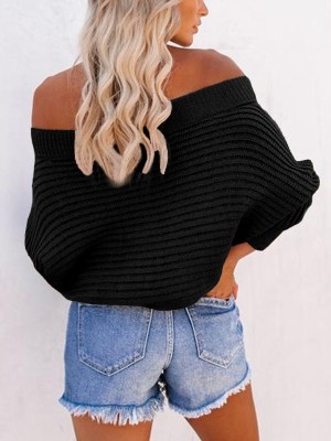 Trendy Black Knit Off-Shoulder Long Sleeve Sweater Chic Trend