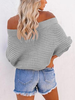 Explorer Gray Off-Shoulder Sweater Batwing Sleeves For Sexy Women