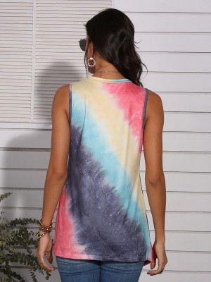 Delicate Red Tie-Dyed Splice Tank Top Twist-Front Trendy Clothes