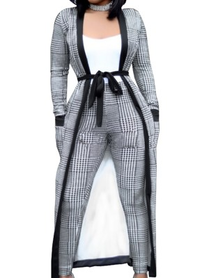 Best Gray Cardigan Suit Open Front With Pockets For Walking