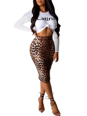 Dramatic Brown Leopard Print Skirt Suit High Rise Stretchy