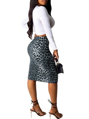 Minimalist Gray Long Sleeves Top And Leopard Skirts Elegance