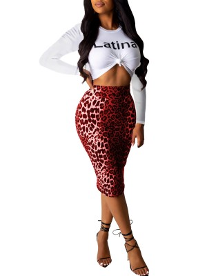 Explorer Red 2 Pieces Top Leopard Printed Skirt Womens Clothes