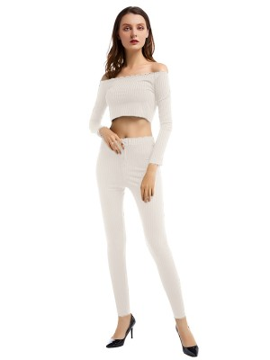 Cutie White One Shoulder Top Full Length Pants Chic Fashion
