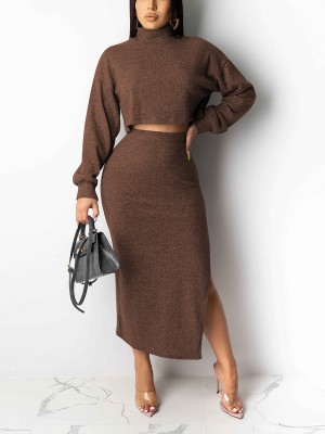 Gracious Coffee Color 2 Pieces Solid Color Crop Side Slit For Traveling