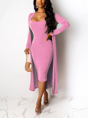 Vintage Pink Sling Bodycon Dress Solid Color Cardigan High Quality