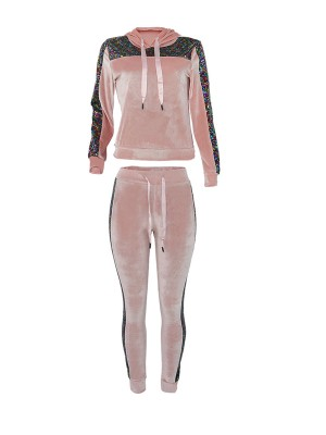 Dreamlike Pink Long Sleeve Suit Sequin Drawstring Distinctive Look
