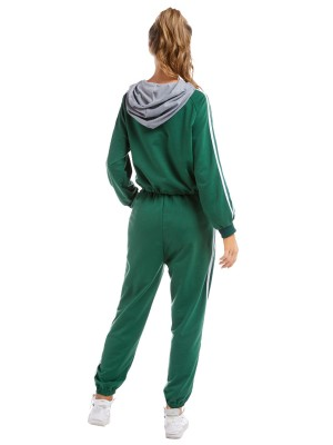 Funny Green Hooded Sports Suit Stripes Patchwork Svelte Style