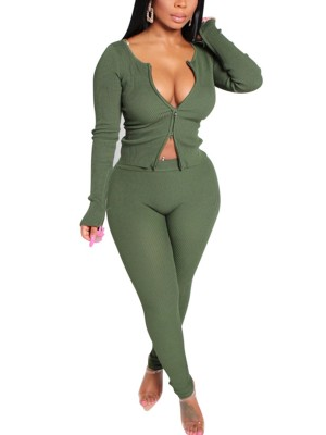 Comfortable Green Zipper Rib Top Solid Color Pants Leisure Time