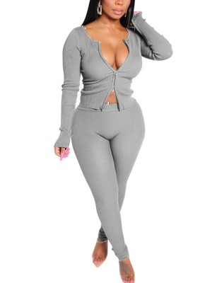 Flattering Gray 2 Pieces Long Sleeve Full Length For Playing