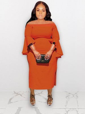 Subtle Orange Large Size Dress One Shoulder Bell Sleeve Charming Fashion