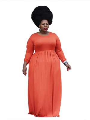 Sexy Ladies Orange High Rise Plus Size Dress Pleated Street Style