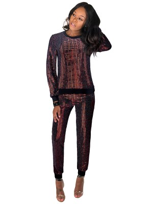 Cutie Red Two-Piece Crew Neck High Rise Sequin For Women Online