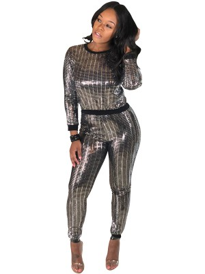 Splicing Silver Long Sleeve Top High Waist Leggings Chic Online