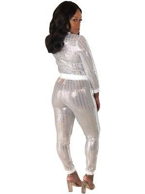 Sunshine White Sheer Mesh Top Ankle Length Pants Vacation Time
