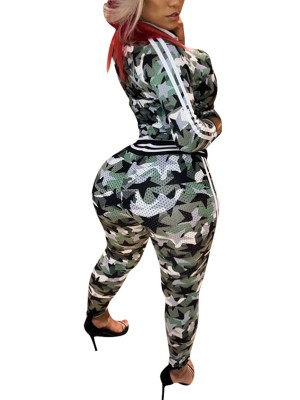 Distinct Green Camouflage Print 2 Pieces Zipper Ladies Fashion