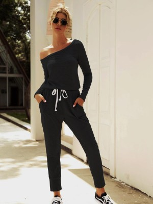 Funny Black Solid Color Top Full Length Pants Women Outfits