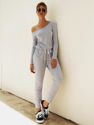 Excellent Gray Single Shoulder Top Elastic Waist Pants At Great Prices‎
