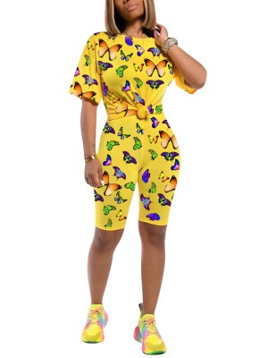 Upscale Yellow Butterfly Printed Short Sleeves Suit Cheap
