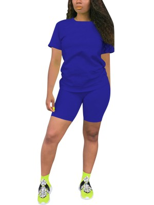 Amazing Blue Big Size Solid Color Sport Two-Piece For Beauty